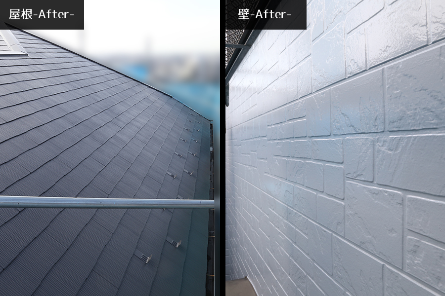 屋根、壁、塗装後